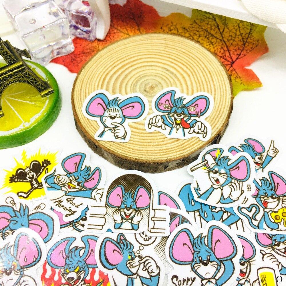 40 Pcs Leuke Blauwe Muis Sticker Anime Icoon Stickers Geschenken Voor Kinderen Om Laptop Koffer Gitaar Koelkast Fiets Auto Speelgoed