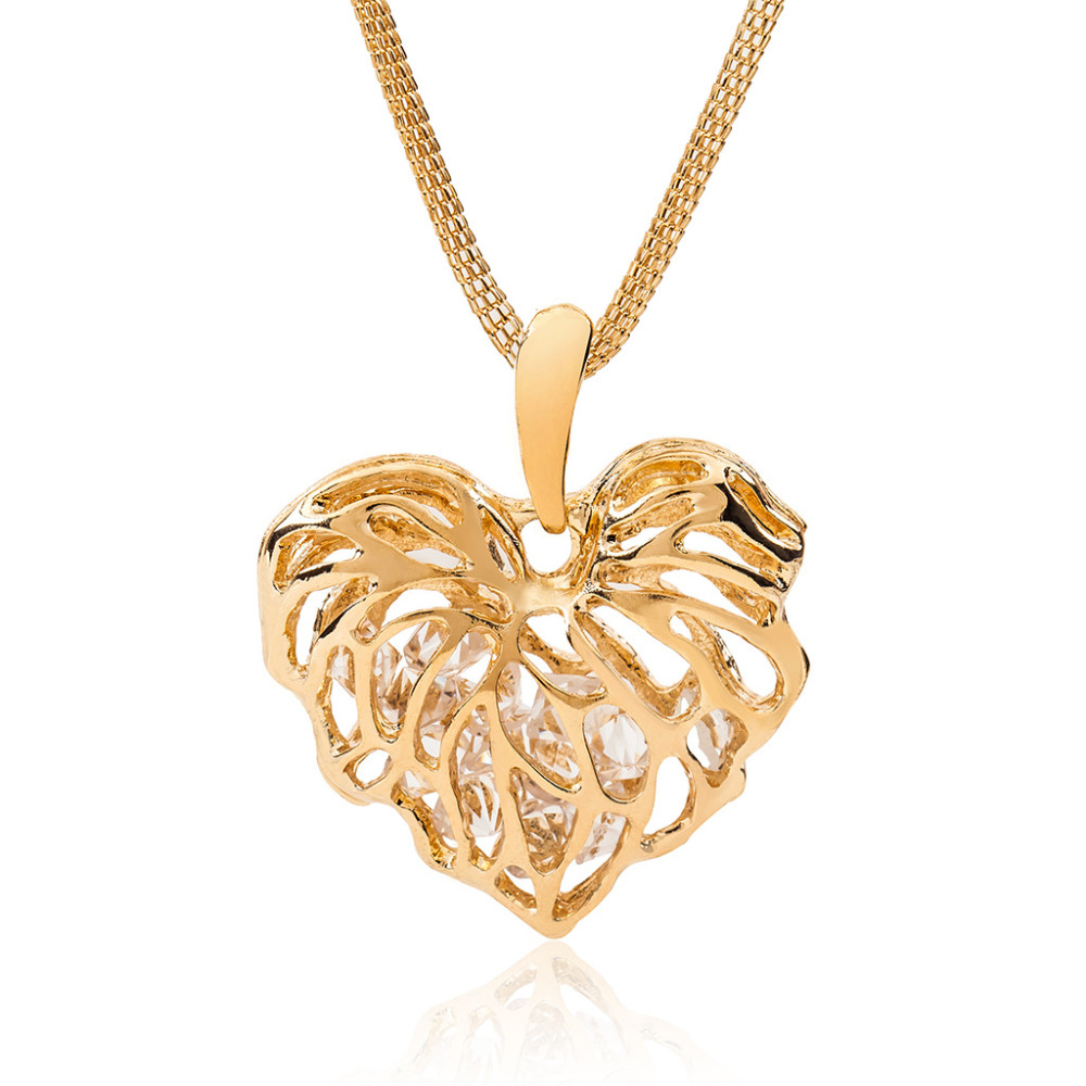 Aliexpress Com Buy Hollow Heart Necklace Women Crystal