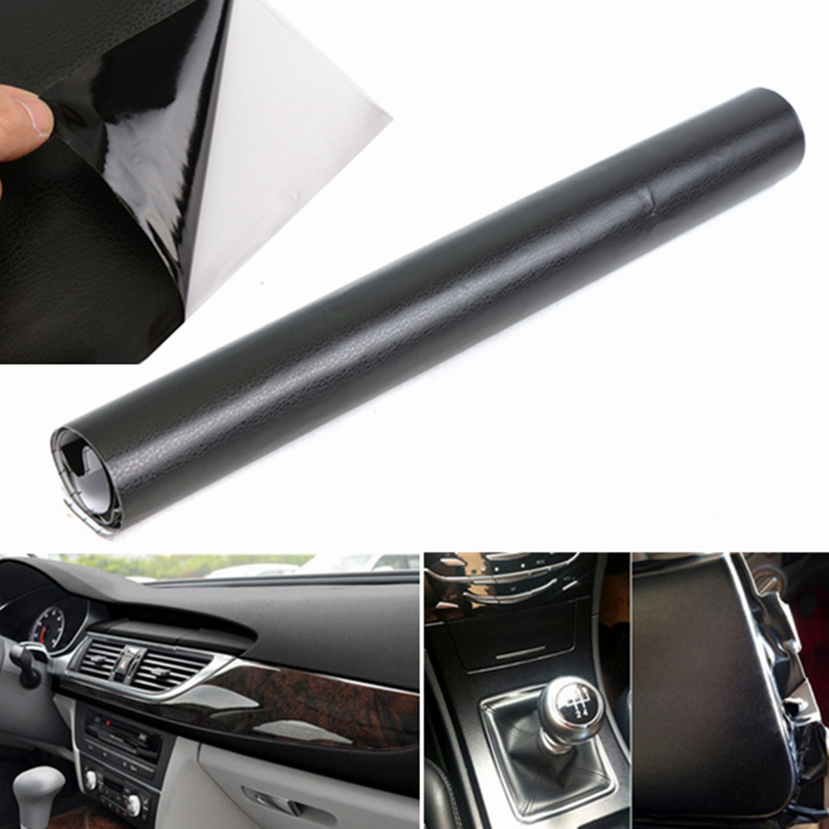 122x40cm Black 3d Leather Texture Sheet Car Auto Interior Trim Film Wrap Sticker In Car Stickers
