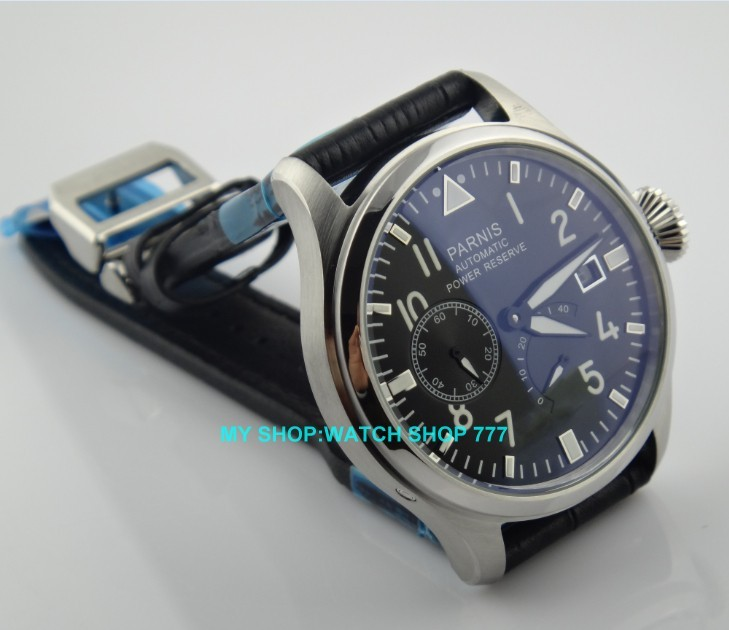47 mm PARNIS Black dial Automatic Self-Wind movement power reserve men watches Mechanical watches G003A 2