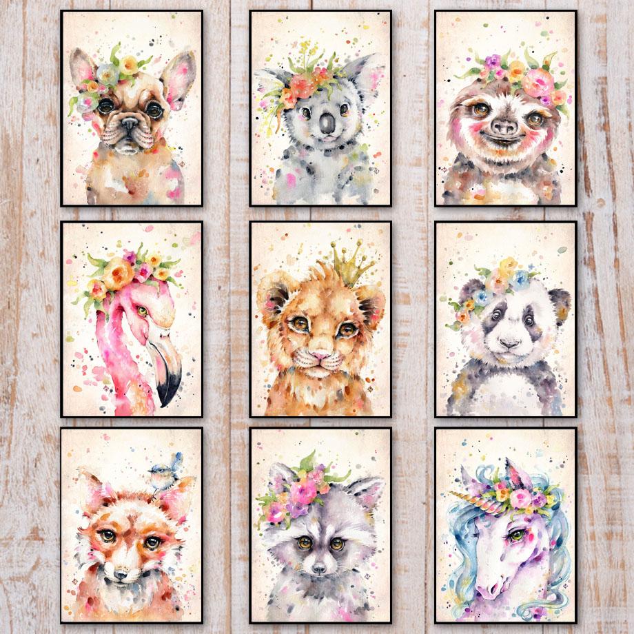 Flamingo Unicorn Rabbit Koala Raccoon Sloth Wall Art Canvas Painting Posters And Prints Wall Pictures Kids Room Nursery Decor