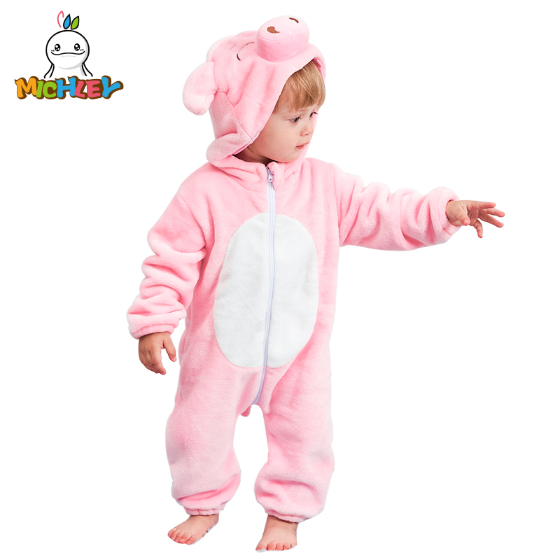 MICHLEY Baby Hooded   Romper   Winter and Autumn Flannel Pink Pig Animal Style Boys Cosplay Clothes High Quality Girls Pajamas XYZ-P
