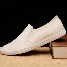 New Spring/Summer Men Casual Shoes Breathable Fashion White Sneakers Slip On Canvas 2019 Flats