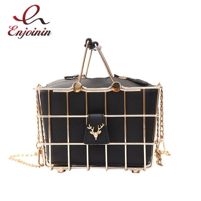 Retro Elegant Deer head metal basket style black pu leather ladies handbag  totes party punk bag women s purse shoulder bag 842b8f4f7142