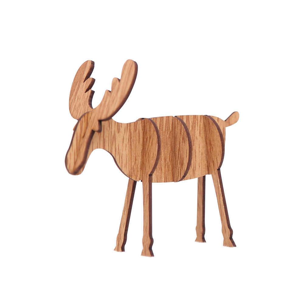 Diy деревянный орнамент с оленями украшения для рождества Рождественские детские подарки для дома, баров торговых центров праздничный кулон