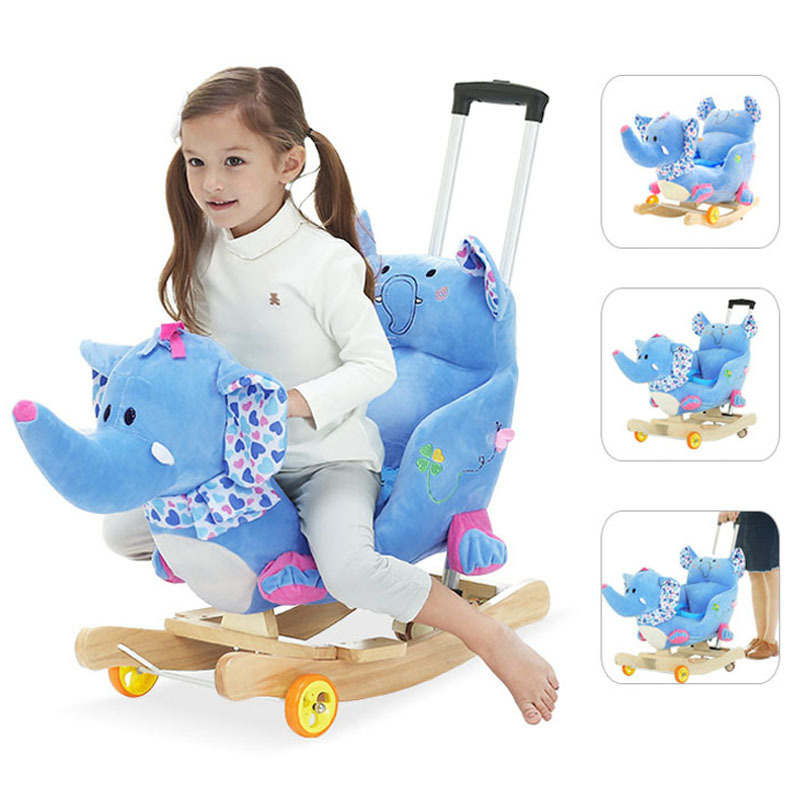 все цены на Baby Rocking Chair Baby Plastic Music Rocking Horse Large Little Horse Car Toys for Children Baby Bouncer Wooden Swing Indoor