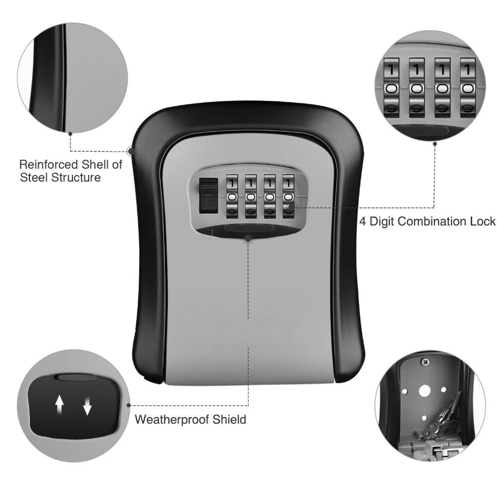 Key Storage Lock Box, 4-Digit Combination Lock Box, Wall Mounted Lock Box, Resettable Code