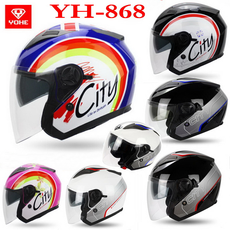 Eternal YOHE half face Motorcycle helmet YH-868 ABS Motorbike helmet Double lens electric bicycle helmets for four seasons 2017 new knight protection gxt flip up motorcycle helmet g902 undrape face motorbike helmets made of abs and anti fogging lens