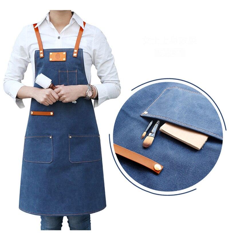 Джинсовый Кухонный Фартук с регулируемым хлопковым ремнем, большие карманы, синий бариста, мужская и женская домашняя одежда - 4