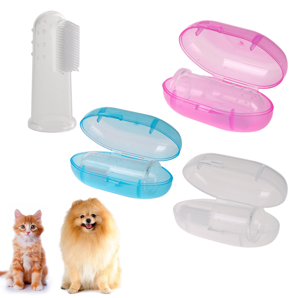 Pet Finger Toothbrush Soft Silicone Dog Tooth Cleaner Cat Bad Breath Teeth Cleaning Teeth Care Dog Cat Clean Supplies image