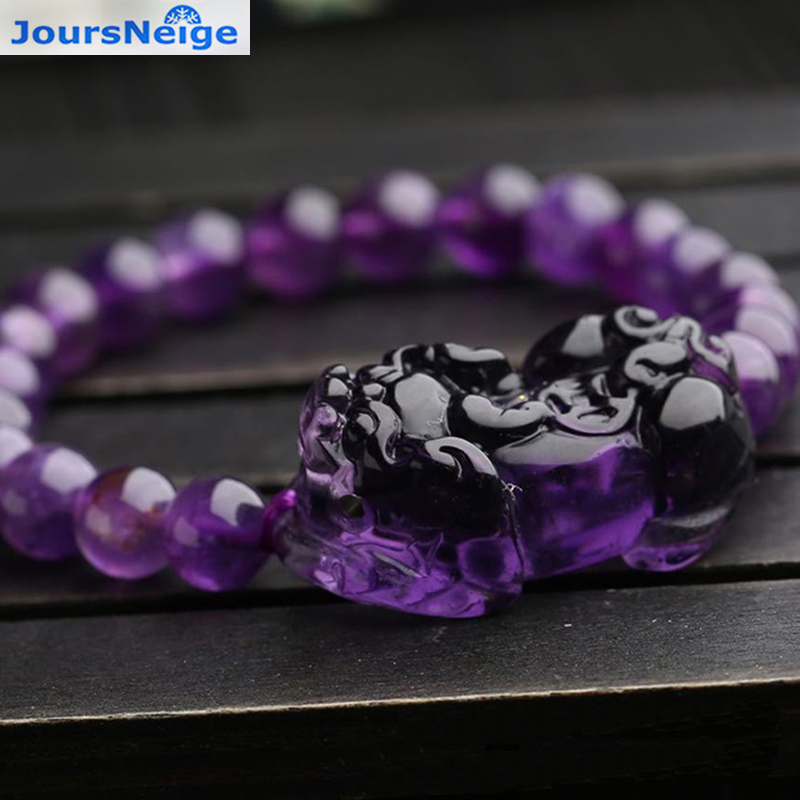 Wholesale Purple Natural Crystal Bracelets 8mm Beads With PiXiu Brave troops for Women Girl Gifts Romantic Crystal Jewelry