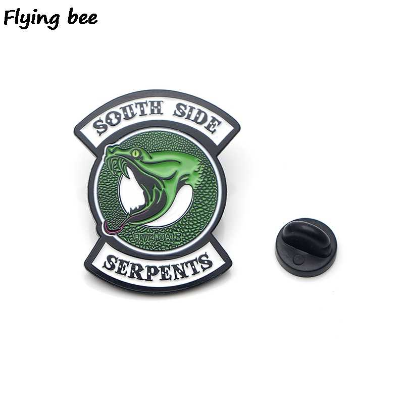 Flyingbee ривердейл зеленая змея эмаль Pin для одежды сумки значок для рюкзака Брошь Личность рубашка лацкан X0195