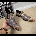Mixed Color Glitter Leather Oxford Shoes For Men Big Size Metal Pointed Toe Wedding Dress Shoes Men Crystal Bowtie Party Loafers