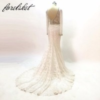 Chất Lượng cao Mermaid wedding dresses 2017 nặng hạt Tùy Chỉnh Thực Hiện thêu lace Wedding Bridal Gown với long sleeves