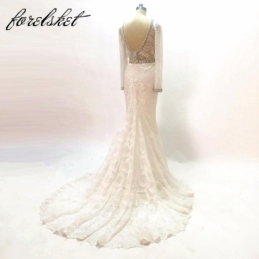 Högkvalitativa sjöjungfrun brudklänningar 2017 tunga pärlor - Bröllopsklänningar