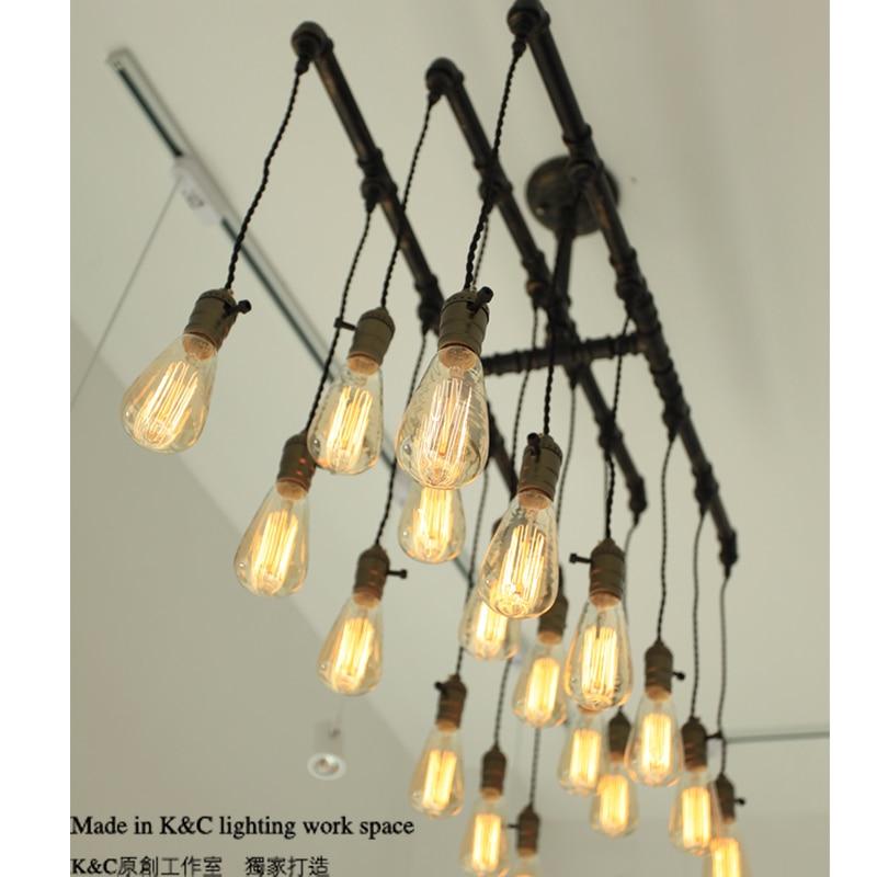 Kc Loft Style Chandelier Lighting E27 Edison Steampunk Retro Silk Pipes In Pendant Lights From On Aliexpress