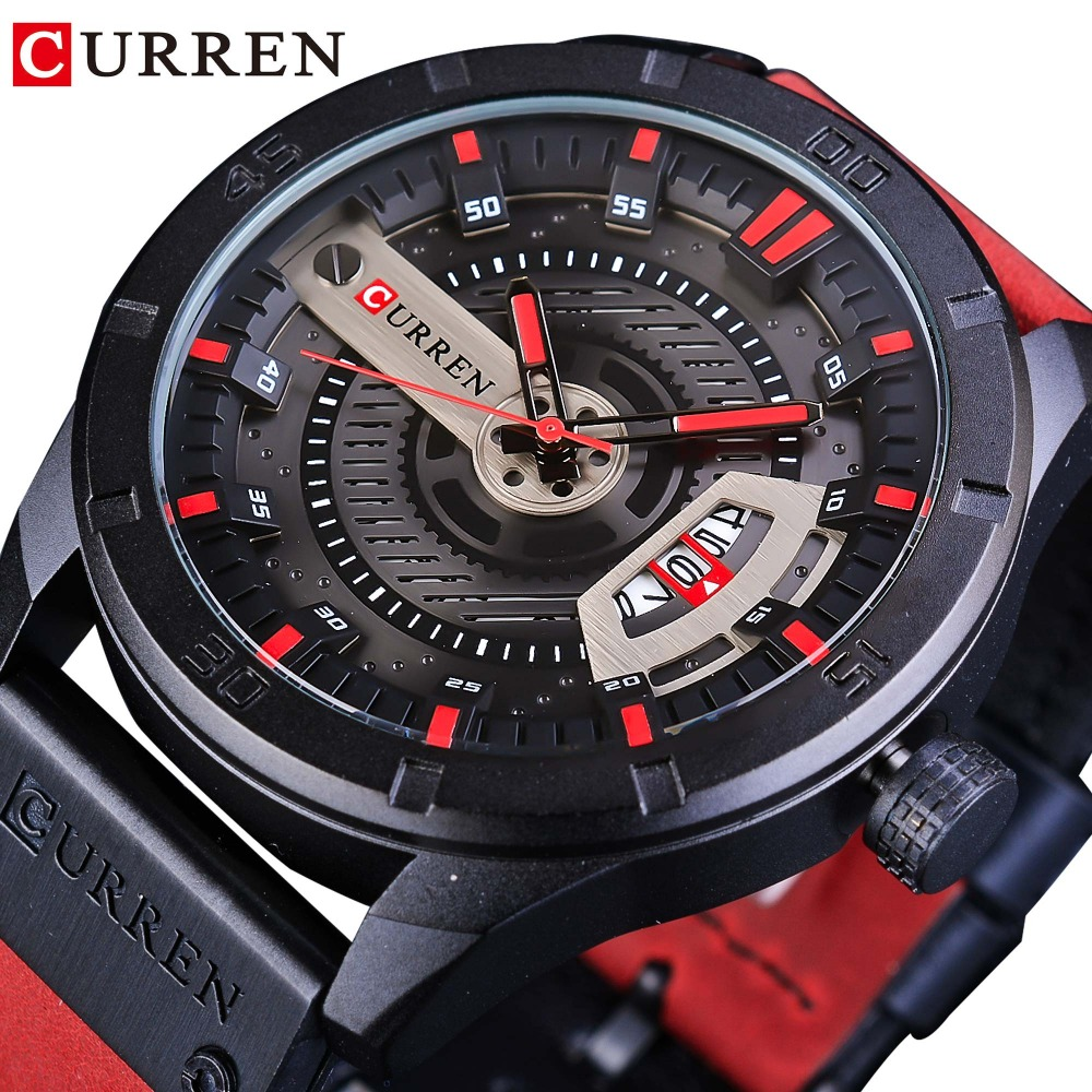CURREN Red Leather Belt Military Design Calendar Display Mens Sport Watch Top Brand Luxury Quartz Creative Waterproof Male Clock curren 2018 fashion military brown genuine leather belt chronograph calendar display mens quartz sport watches top brand luxury