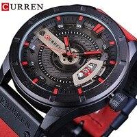 CURREN Red Leather Belt Military Design Calendar Display Mens Sport Watch Top Brand Luxury Quartz Creative