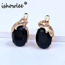 ISHOWLEE Big Crystal 585 Rose Gold Studs Earrings Blue & Black Natural Zirconia  Minimalism Earrings Stones Korean Jewelry esp15
