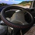 KKYSYELVA PU Leder + Seide Lenkrad Abdeckungen für Auto Bus Lkw 36 38 40 42 45 47 50cm durchmesser Auto Steering-rad abdeckung