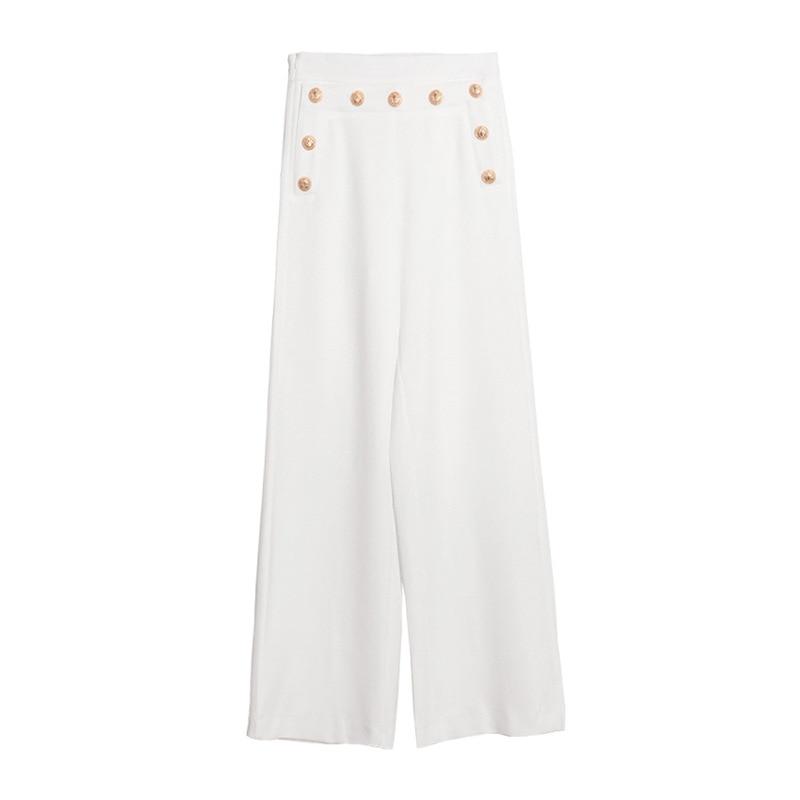 Pantalones Oficina white Botones Anchos Alta Largo 2018 Trabajo Cintura Black Elegante Metal Flojo Femenino Ocasional Recta Mujeres aFwqE0UnTq
