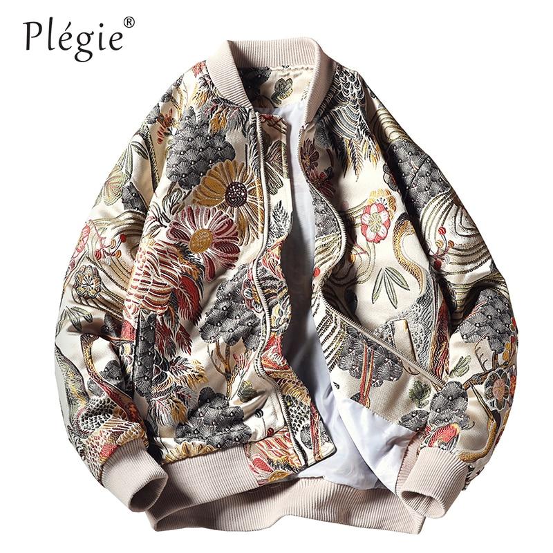 Plegie Embroidery Baseball Jacket Fashion Streetwear 2019 Autumn Winter Zipper Bomber Jacket 4XL 5XL Plus Size Coats And Jackets