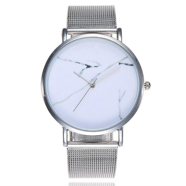 Hot Sale Women Men Quartz Stainless Steel Band Marble Watch Analog Clock Ladies