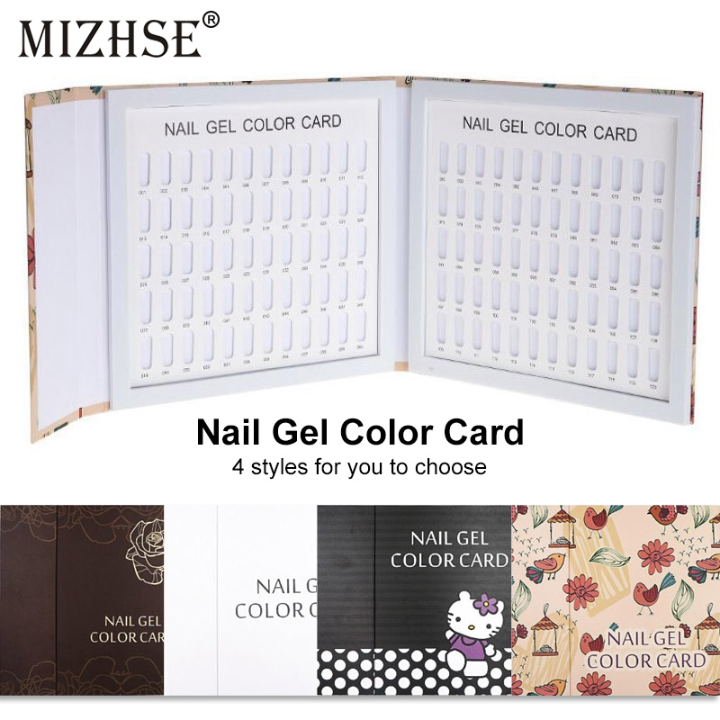 MIZHSE Nail Art Tool Professional Nail Gel Polish Tips Show Color Display Card Professional 120 Colors Collecting Albums image