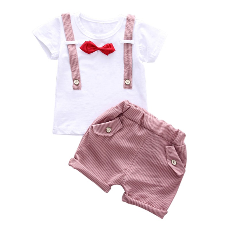 T-shirt Baby Boys Gentleman Colthes Set Bowtie Kids Boy T-shirt Stripe Shorts Baby Clothes Summer Boy T Shirt kids clothes