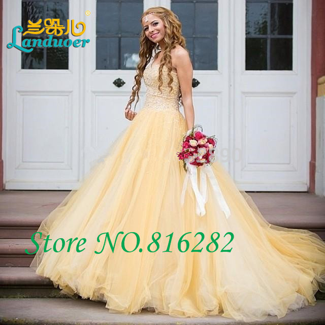 Yellow Lace Wedding Gown
