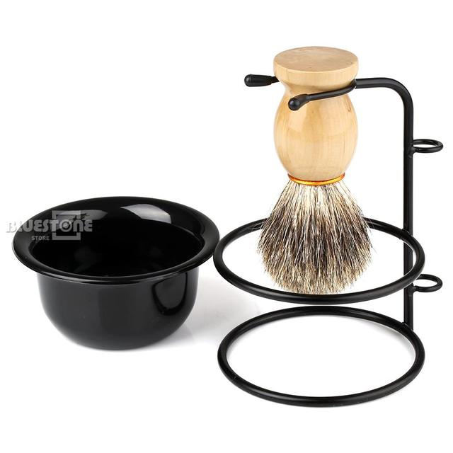 Men's Gift Hair Shaving Brush+Stainless Steel Stand Holder +  Bowl Gift Mix Badger OR Set