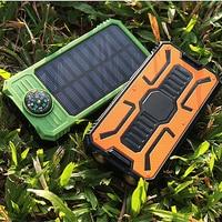 Universal Portable Source Ultra Thin 20000mAh Large Capacity Solar Power Bank Phone Charging Treasure With Compass