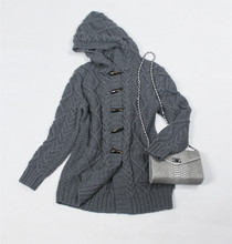 100% hand made goat cashmere argyle add thick knit women hooded mid long cardigan sweater