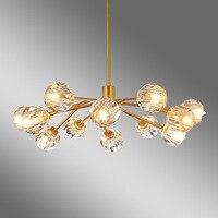 Nordic LED K9 crystal chandeliers ceiling Iron luminaires bedroom lighting restaurant hanging lights living room suspended lamps