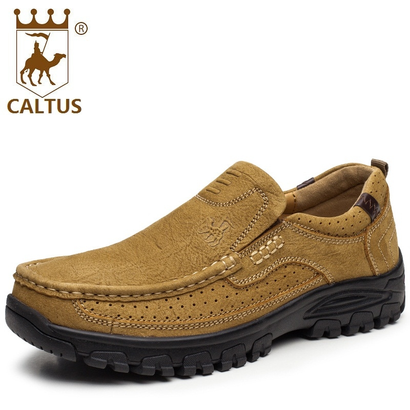 CALTUS Casual Shoes Men Breathable New Fashion Oxfords Men Flats Genuine Leather Spring Autumn Breathable Driving Shoes AA20518