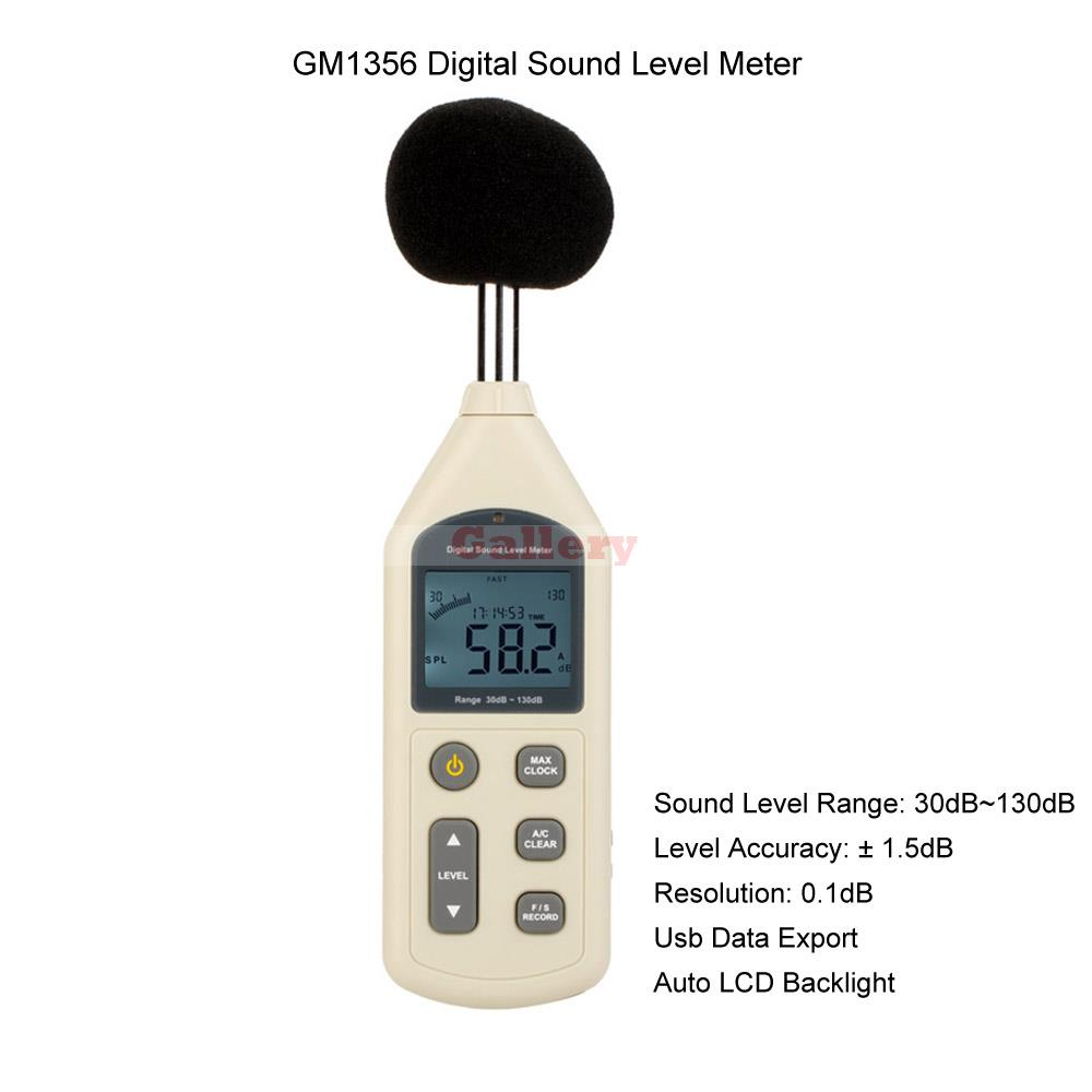Gm1356 Digital Sound Level Meter Noise Meter Db Meter with Time & Usb Interface Auto Lcd Backlight антивирус eset nod32 mobile security 3 устройства 1 год nod32 enm2 ns card 1 1