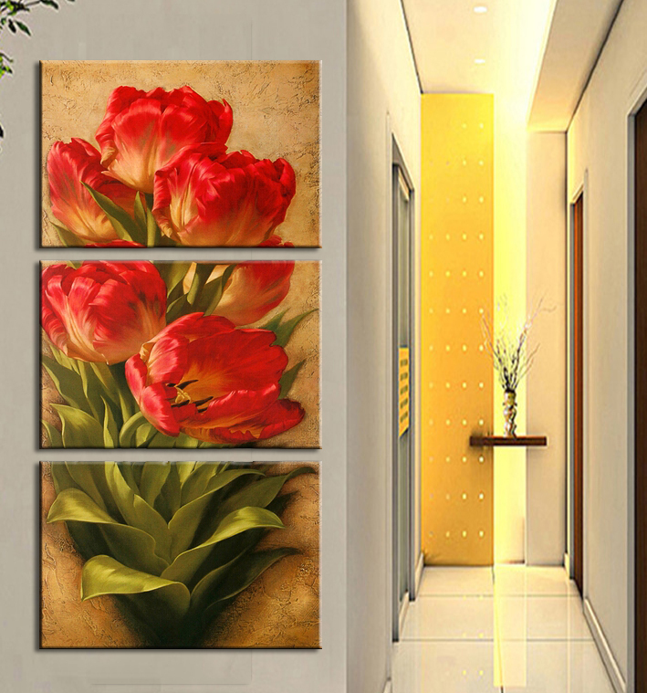 Tulip Flowers Red Green Wall Art Pictures Large Home Decor Picture Canvas Painting Frame - store