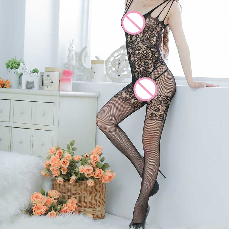 Hot Sexy Woman Open Crotch Mesh Fishnet  Stocking Lingerie Black Spandex Stockings Uniform Body Women Costume Outfit  LB
