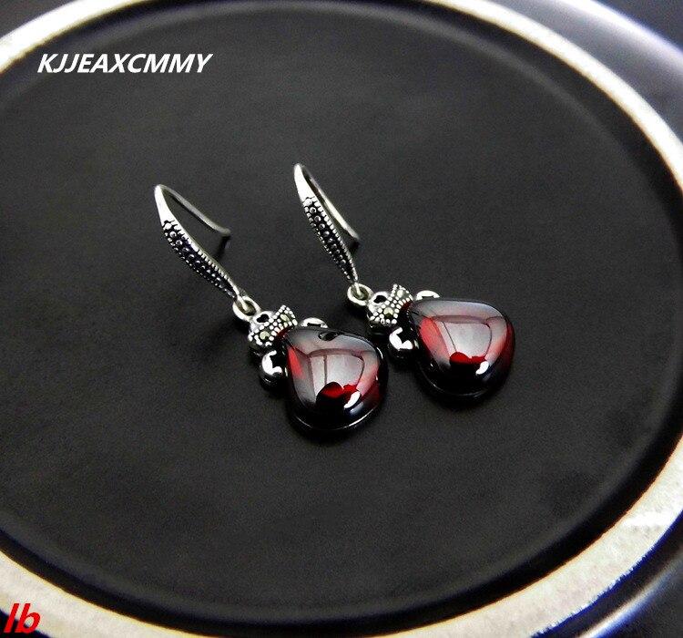 KJJEAXCMY Fine jewelry Thai silver garnet agate 925 sterling silver drop earrings women's earrings new цена 2017