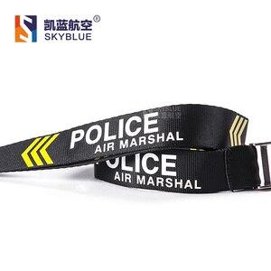 Image 4 - Estilingue da correia da polícia do marechal de ar com estojo de couro genuíno para o suporte da identificação do trabalho, presente para a tripulação do voo