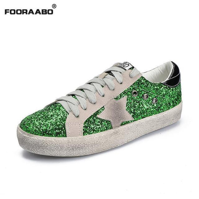 2018 Fashion Designer Sneakers Women Casual Shoes Glitter Star Golden Women  Sneakers Mixed Color Leather Dirty Shoes Sequins ff37bb53f