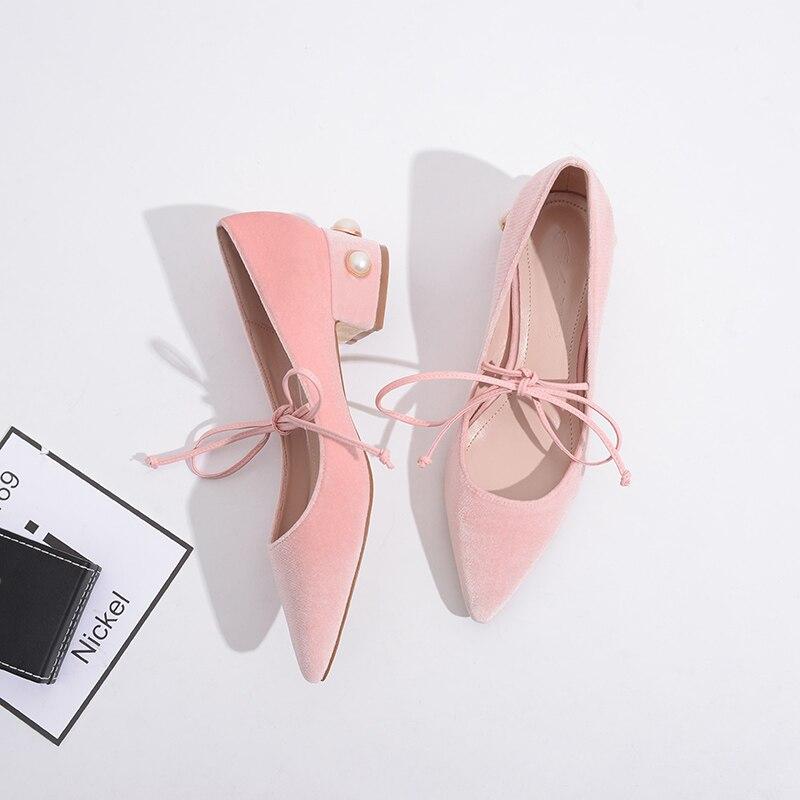 Primavera Rosa Zapatos blue Las Cuadrado Pink Mujer Atado Bombas Dulce black Encaje Tacones Cruz Terciopelo Nueva Mujeres Pisos Hasta Feminino 7qd67