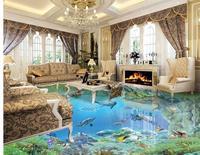 waterproof wallpaper for bathroom wall Underwater World 3D Flooring