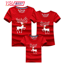 Christmas Family Look Family Matching Outfits T-shirt Color Milu Deer Matching Family Clothes Mother Father Baby Short Sleeve