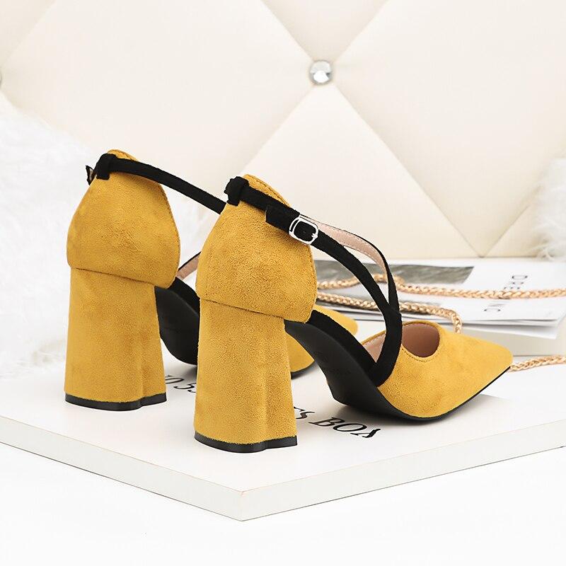 Pointu Femme Cm Jaune Troupeau Bloc 2018 Boucle Chaussures jaune rouge Talons Noir Feiyitu Dame Pompes Sandales gris Bout Femmes 8 D'été Hauts PIxqZO