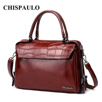 CHISPAULO Designer Women leather Handbags High Quality shoulder/crossbody Messenger Evening Tote bags Crocodile Bag oil X80