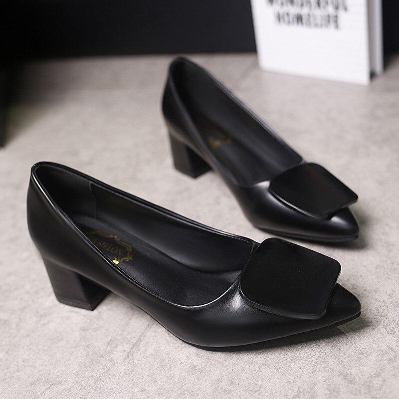 2018 Zomer New Damesschoenen Dik met puntige schoenen Effen kleur Set - Damesschoenen - Foto 5