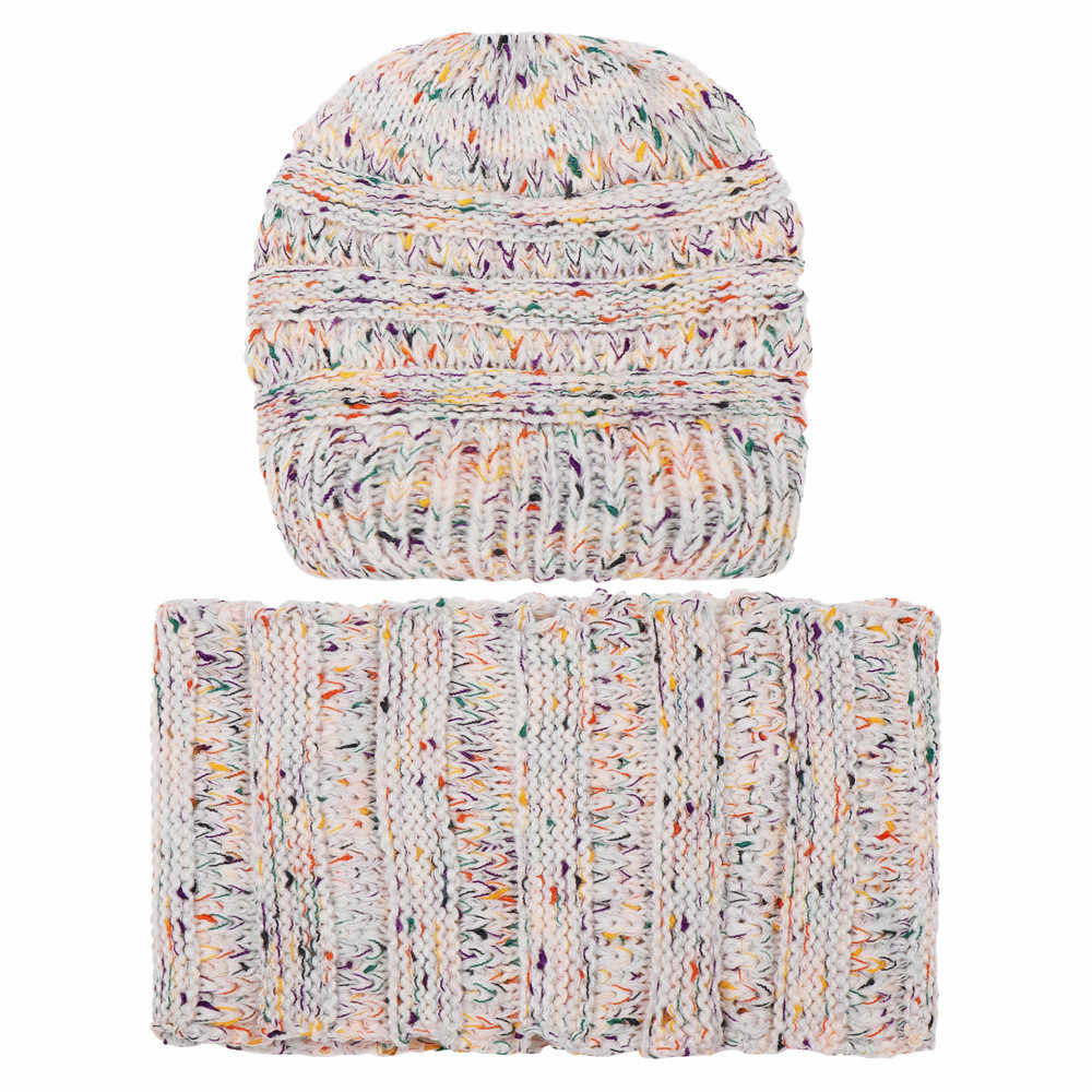 KANCOOLD  2PCS Set Fashion Women Keep Warm Winter Wool Knitted Cap Neck Warmers Scarf Hat Ski Beanie Skull Slouchy Caps PJ0928