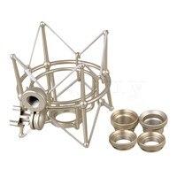 Yibuy серебряный металлический большой размер цилиндр Паук ShockMount держатель для Newman U87