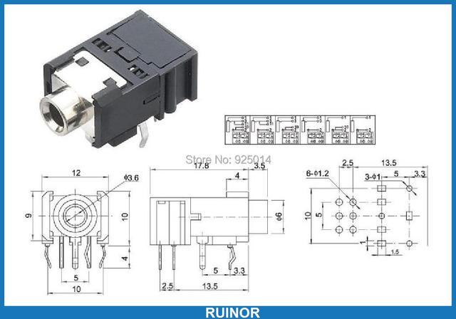 200pcs 11 pin 3 5mm 1 8 quot headphones socket jack stereo pcb rh aliexpress com Wiring 1 4 Phone Plugs Stereo Headphone Plug Wiring Diagram